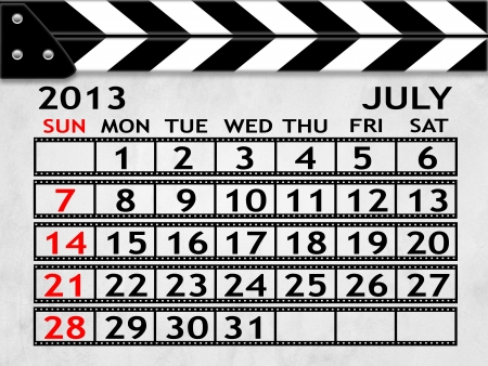 calendar JULY 2013 clapper board or slate style photo