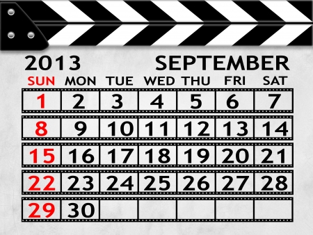 calendar SEPTEMBER 2013 clapper board or slate style photo