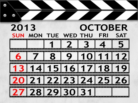 calendar OCTOBER 2013 clapper board or slate style photo