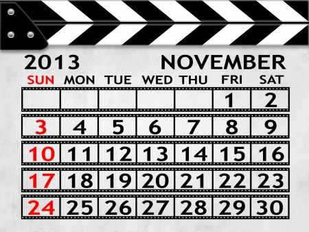 calendar NOVEMBER 2013 clapper board or slate style photo