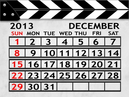 calendar DECEMBER 25, 2013 clapper board or slate style photo