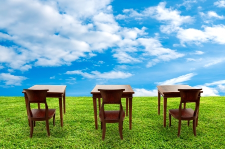 classroom training: Class room student on green grass and beautiful sky and cloud background  Class outdoor Stock Photo