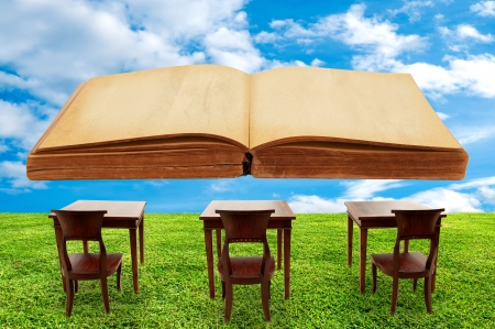 Class room student outdoor and a big book Stock Photo - 17066008