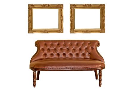 luxurious sofa: Vintage photo frame and luxurious sofa furniture isolated white background