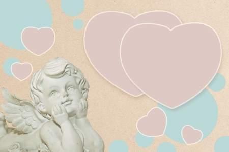 messengers of god: vintage cupid angel  and bubble for photo or text Stock Photo