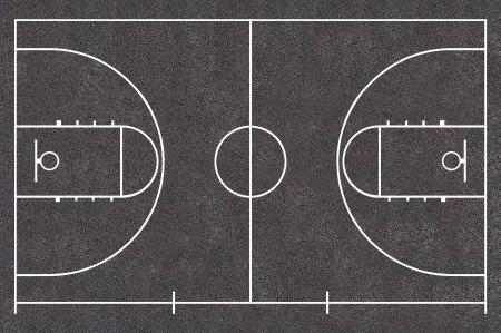 バスケット ボール裁判所フロア プラン アスファルト テクスチャ、ストリート バスケット ボール 写真素材