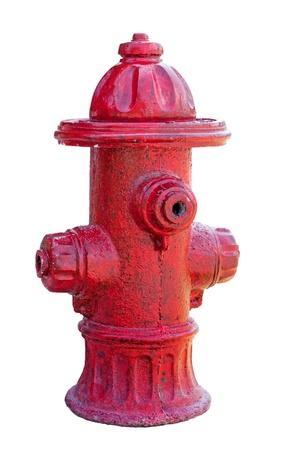 borne fontaine: Bouche d'incendie rouge isolé sur blanc objet fantaisie