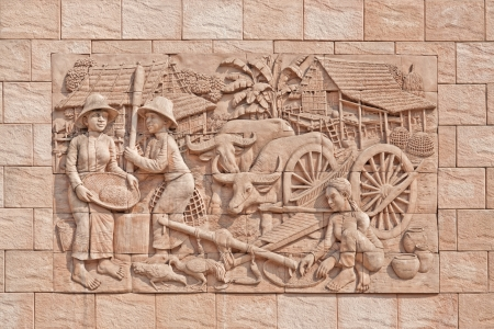 stone carving: Sandstone carving decorated on the wall at temple in Bangkok,Thailand