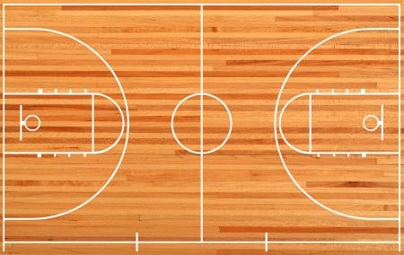 basketball tournaments: Basketball court floor plan on parquet background