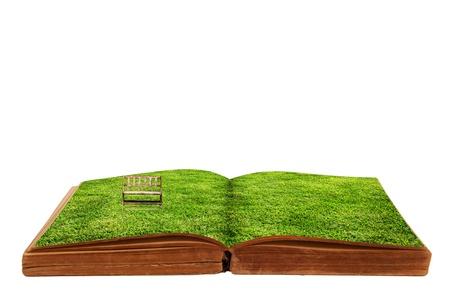 緑の草と本を開いた