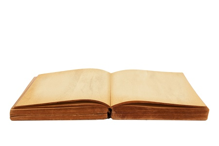 Opened old book isolated white background photo
