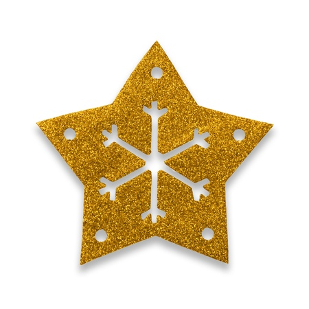 Yellow star snow flake Christmas tree topper Stock Photo - 17066281
