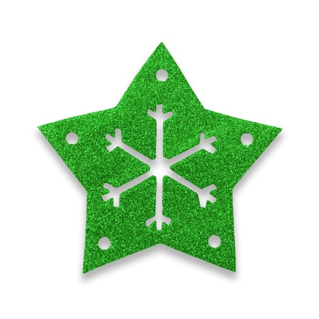 topper: Green star snow flake Christmas tree topper