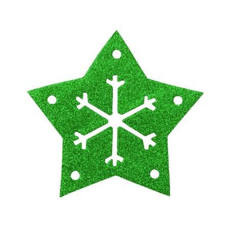 Green star snow flake Christmas tree topper Stock Photo - 17066261
