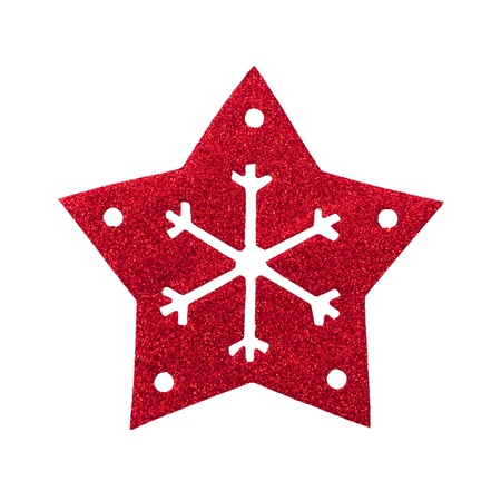 Red star snow flake Christmas tree topper Stock Photo - 17066259
