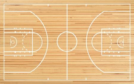寄木細工の床の背景にバスケット ボール裁判所フロア プラン