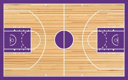 Basketball court floor plan on parquet background photo
