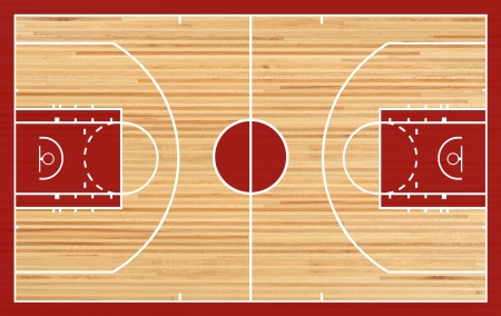 Basketball court floor plan on parquet background photo