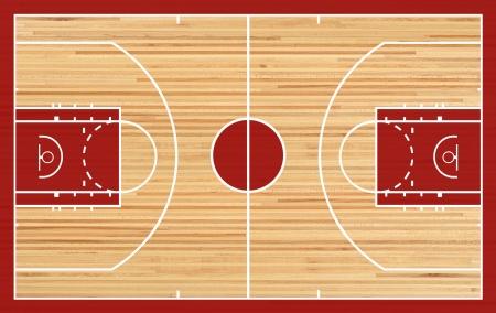 Basketbalveld plattegrond op parket achtergrond