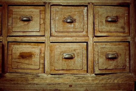 file cabinet: Vintage wooden drawer