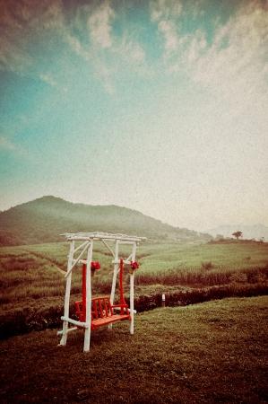 swing seat: Lone rosso dondolo d'epoca Archivio Fotografico