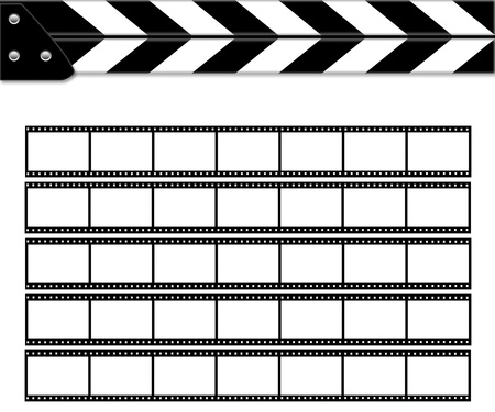Clapper board on white background with films.