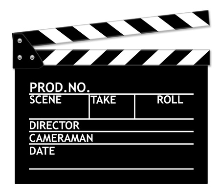 Clapper board on white background. Imagens