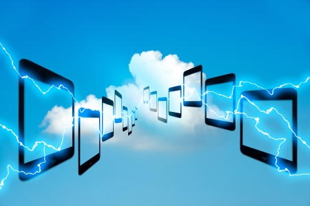 Digital tablet access to the clouds system. Cloud Computing concept. photo