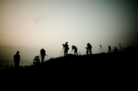 Silhouette of photography on the cliff  Phu Chee Fah Thailand