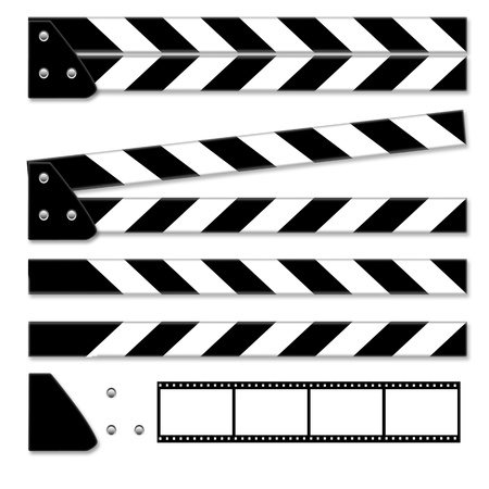 Parts of clapper board isolated on white background  Stock Photo