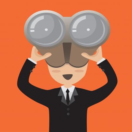 Businessman looking vision through binoculars