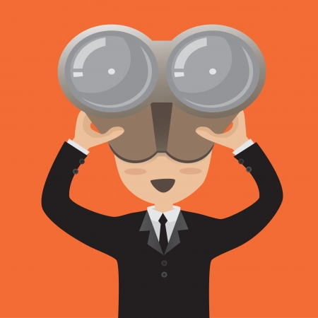 Businessman looking vision through binoculars  Vector
