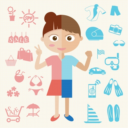 Girl and Boy half body with object icon  Vector Vector