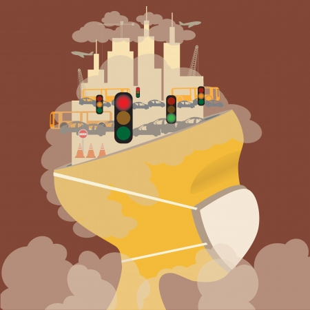 smoke stack: Abstract head of pollution in the city  Pollution concept  Vector