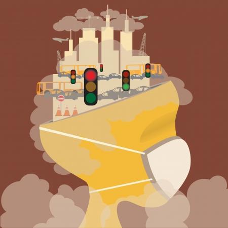 Abstract hoofd van de vervuiling in het concept stad Verontreiniging Vector