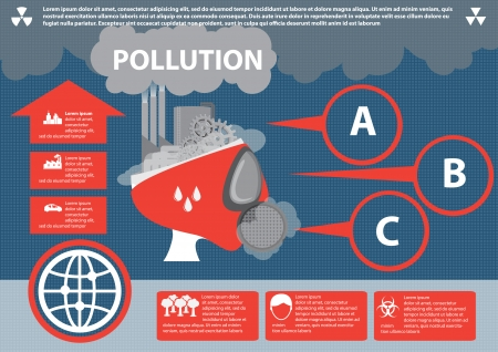 Industrial pollution  Info graphic elements, Vector Illustration
