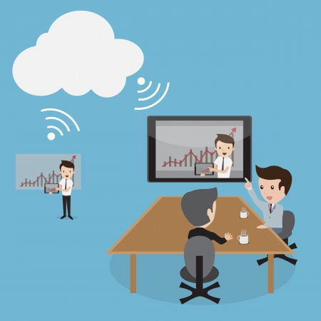 A vector illustration of business people video conferencing by Cloud computing technology  Vector