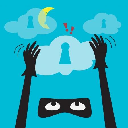 protected database: Los datos de protecci�n antirrobo Secure Cloud Computing vector de dibujos animados