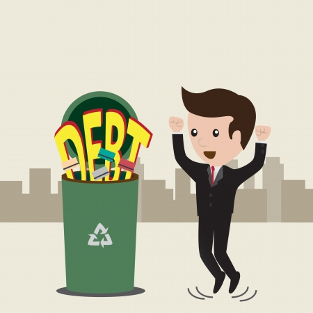 Businessman no debt  Debt concept, business man rejected word debt to the trash  Vector Vector