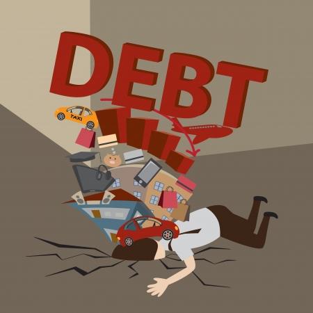 Businessman with Debt  Debt concept  Cartoon vector  Illustration