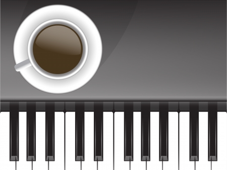 forte: cup of coffee and musical Illustration