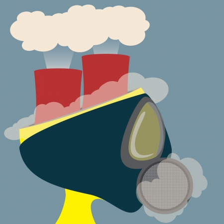 fall protection: Abstract head of Poisonous air from burner reactor  Vector Illustration
