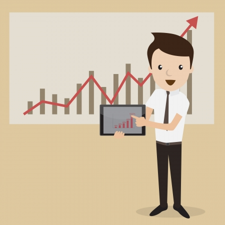 digital tablet: Businessman proudly present growing business statistics by digital tablet  Business concept  Vector Illustration