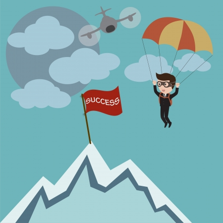 skydiving: Businessman parachuting to success, vector Illustration