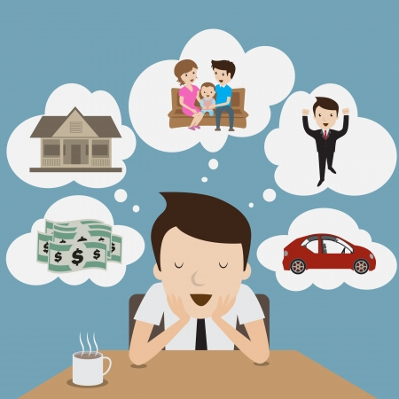 Businessman dream at coffee break  Cartoon Vector