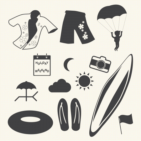 Beach icons set on texture background  Vector Vector