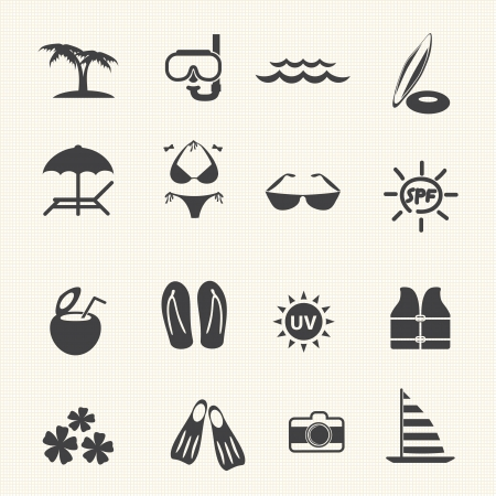 sunscreen: Vacation and tourism icons  Vector