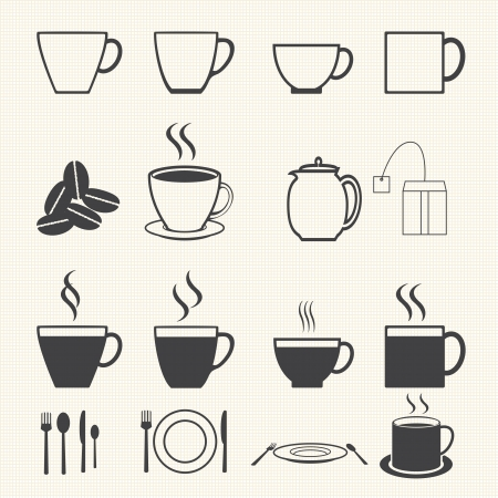 arabica: Coffee cup and Tea cup icon set on texture background