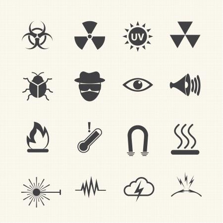 chemical weapons: Symbols danger icons set  Vector Illustration