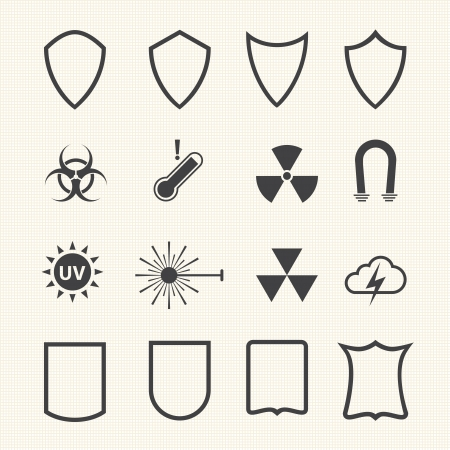honor guard: Shield and protection icons set on texture background  Vector